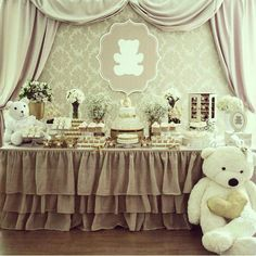 Teddy Bear Party, Table Decorations, Instagram Posts, Furniture, Baptism Ideas, Home Decor, Baby Showers, Party, Baby Shower