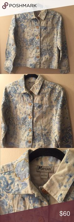 MARISOL  Beaded Denim Jacket EUC! Gorgeous blue floral print on natural colored denim, accented with hand beading. Has wooden buttons. Made in India, 100% cotton. Laid flat chest measures 21 inches, length from shoulder to hem is 23 inches. Marisol Jackets & Coats Jean Jackets