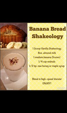 Banana Bread Superfood Smoothie - Tip: To make it thicker you can add ice. To make it thinner you can add filtered water instead of t - Shakeology Flavors, Shakeology Shakes, Vanilla Shakeology, Beachbody Shakeology, Herbalife Shake, 310 Shake Recipes, Protein Shake Recipes, Smoothie Recipes, Protein Shakes