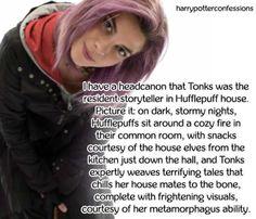 I have a headcanon that Tonks was the resident storyteller in. Tonks Harry Potter, Harry Potter Words, Harry Potter Pictures, Harry Potter Love, Harry Potter Characters, Harry Potter Universal, Harry Potter Fandom, Harry Potter Memes, Tonks And Lupin