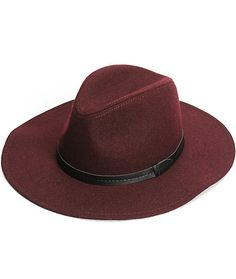 Add a touch of classy flavor to your look with this wide brim Panama hat made with a burgundy wool blended construction and a synthetic leather band around the crown.