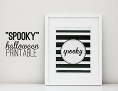 Spooky black & white art print - love the b&w stripes!