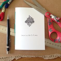invisibilities art zine by littlevagaries on Etsy Art Zine, Invisible Cities, Embroidery Thread, Moleskine, Creative Business, Hand Stitching, Black And White, Drawings, Prints