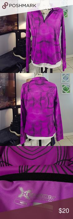 Xersion Purple Black 1/4 Zip Athletic Jacket L Condition: Great. Never worn. After careful inspection, no sign of stains, tears or flaws. Polyester. Measures 20 inches from pit to pit and is 23 inches long. All measurements taken with garment laying flat.  Images represent exactly how product looks like. Ships within 24 hours after purchasing. Feel free to check out the rest of my closet and bundle. Xersion Tops Tees - Long Sleeve