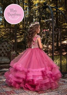 The Casablanca Flower Girl Dress For Wedding by MB Boutique Canada. The Casablanca flower girl dress features a satin bodice with short-sleeved top embroidered with textured lattice lace all-over, while beaded floral appliques embellish the natural waist. Pink Flower Girl Dresses, Little Girl Dresses, Girls Dresses, Fuchsia Flower, Pageant Dresses, Quinceanera Dresses, Girls Party Dress, Baby Dress, Kids Gown