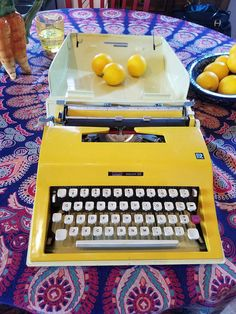 Check out this item in my Etsy shop https://www.etsy.com/listing/491776282/vintage-retro-70s-typewriter-groovy