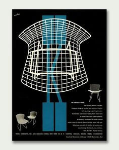 """""""Bertoia chair"""", Ad. for: 'Knoll Associates, New York', (1950s) - Magazine Advertising page, Graphic Design by Herbert Matter (b. 1907 - d. 1984, Swiss/American)."""