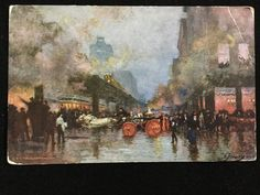 Early 1900s A. Fleury print Fire on L tracks on Wabash, Chicago,IL postcard