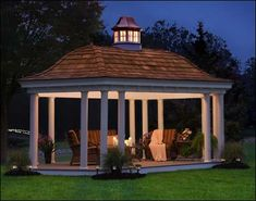 12 x 20 Vinyl Elongated Hexagon Belle Gazebo with optional Cedar Shingles and Custom Belle Cupola