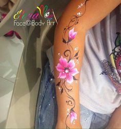 Arm design Purple Flower Tattoos, Purple Flowers, Hand Art, Hand Designs, White Ink, Face And Body, Body Painting, Watercolor Tattoo, Tatoos