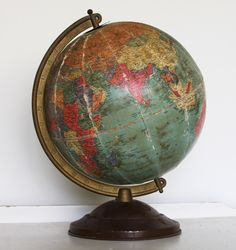 "Vintage REPLOGLE 10"" GLOBE- on Axis- 1940's World Map- Damaged- World Globe by VintageSupplyCo on Etsy https://www.etsy.com/listing/285914791/vintage-replogle-10-globe-on-axis-1940s"