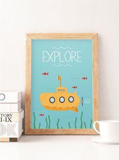 Druck zu erforschen entdecken Sie Kunst u-Boot Kinderzimmer