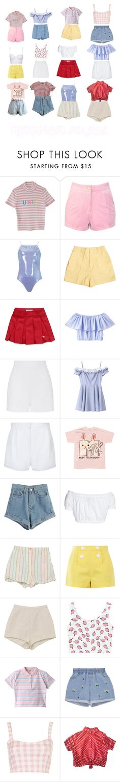 """""""O U T F I T S"""" by charliehubbard ❤ liked on Polyvore featuring Lenny, Retrò, Abercrombie & Fitch, WithChic, Topshop, GERMAN PRINCESS, Boutique Moschino, Motel and American Apparel"""