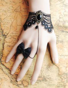 Gothic Ring Black Lace Retro Bowknot Lolita Wrist Strap