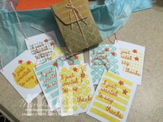 A Box of Thank you tags made from the February 2015 Layers of Gratitude Paper Pumpkin kit.