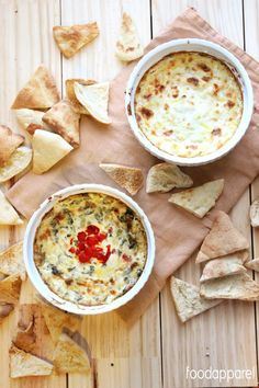 Hot Cheesy Spinach and Roasted Red Pepper Artichoke Dip Recipe - A healthier version included!