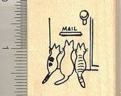 Cute kitties waiting for mail rubber stamp E8805 Wood Mounted cat
