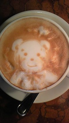 Teddy bear Latte Art #Food & #Drink - #Coffee