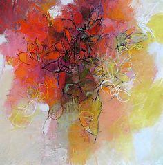 """Red Flower by Debora  Stewart (Pastel Painting) (22"""" x 22"""")"""