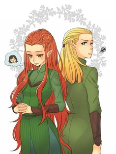 Tauriel & Legolas - You think about Kili, sister! Feel free to dis off Golden Boy there as much as you want too!