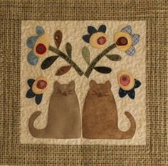 Cat and house wall hanging applique quilt detail
