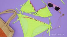 How to Make an Embroidered Bikini # Swimsuits For Teens, Clothing Hacks, Fun Crafts For Kids, Fashion Tips For Women, Diy Fashion, Womens Fashion, Sewing For Beginners, Bikini Photos, Sewing Hacks