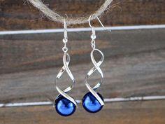 Silver and Blue Twist Dangle Earrings / Snow by NewEnglandEarrings