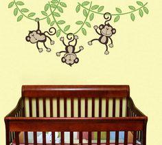 3 Monkeys Swinging from a Vine Children Wall Decal Wall Sticker Nursery Decal Wall Monkeys Happy Monkey Jungle Friends Childrens Wall Decals, Nursery Wall Stickers, Kids Wall Decals, Monkey Room, Monkey Nursery, Kids Line, Baby Boy Rooms, Kids Rooms, Cute Monkey