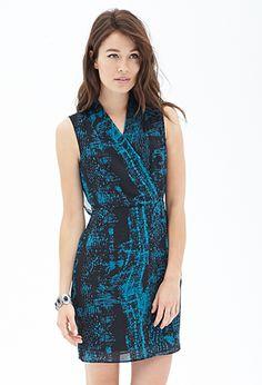 Printed Surplice Wrap Dress   FOREVER21 - 2000121290