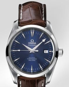 OMEGA Seamaster Aqua Terra Chronometer - Steel on leather strap - Elegant Watches, Stylish Watches, Luxury Watches For Men, Beautiful Watches, Cool Watches, Casual Watches, Seamaster Watch, Omega Seamaster, Montre James Bond