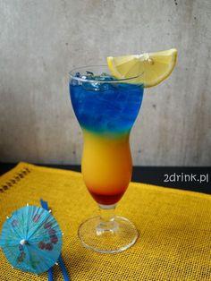 Żar Tropików 20 ml grenadiny 50 ml rumu 50 ml likieru Blue Curacao ok. 300 ml soku pom kostki lodu Liquor Drinks, Alcoholic Drinks, Beverages, Summer Cocktails, Cocktail Drinks, Blue Curacao, Smoothie Drinks, Smoothies, Yummy Treats