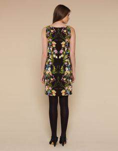 Anna Placement Floral Print V Neck Dress | Black | Monsoon