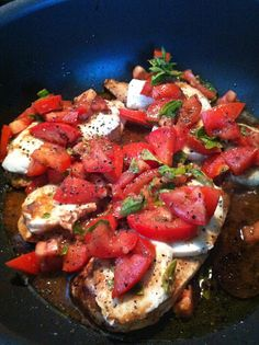 Balsamic chicken with fresh tomatoes, basil, and mozzarella