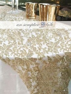 Wedding Tablecloths, Wedding Linens, Glitter Table Cloths, Gold Runner, Wedding Reception Design, Wedding Tables, Tulle Table, Tea Party Table, 50th Wedding Anniversary