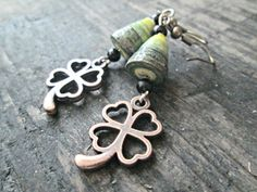 St. Patrick's Day  Four Leaf Clover Earrings  St. by EarthChildArt