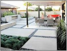 Concrete Backyard Ideas pictures of best outdoor concrete patio design ideas including patio pavers stamped concrete patio cost how to clean pour and plan your backyard patio Mix Of Matrrials In Paving Large Areaofconcrete Broken Up By Use Of Stones Concrete Backyardconcrete