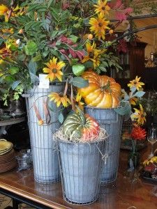 Great look using french galvanized containers.