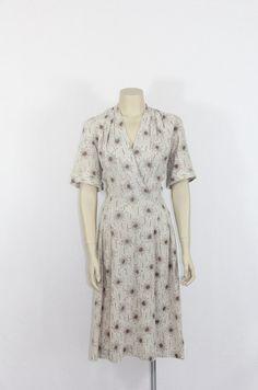 1950s Vintage Dress  Atomic Novelty Print Plus Size by VintageFrocksOfFancy, $160.00