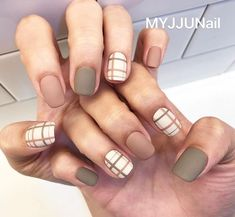 Beautiful Nail Designs To Finish Your Wardrobe – Your Beautiful Nails Korean Nail Art, Korean Nails, Plaid Nails, Striped Nails, Plaid Nail Art, Nail Swag, Acrylic Nail Designs, Nail Art Designs, Nails Design