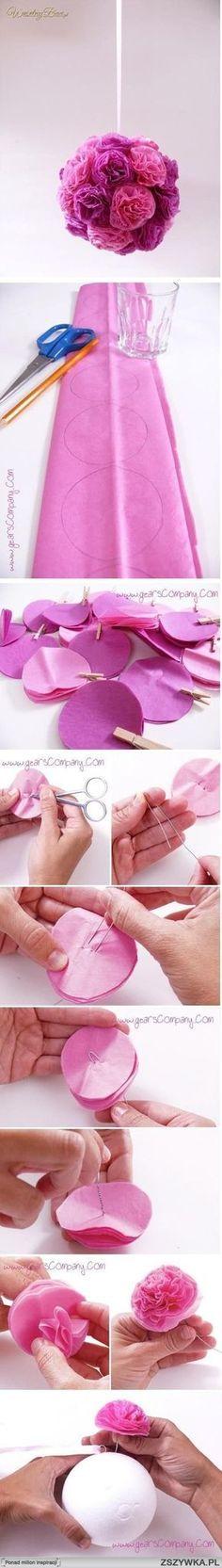 Esfera de flores de papel de seda