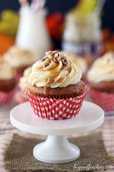 Easy Pumpkin Cupcakes with Caramel Cream Cheese.