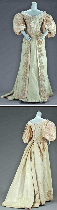 Evening dress, Jean-Philippe Worth, circa 1895. Light green silk faille in two parts. Bodice has large puffed white satin sleeves and is trimmed at center front with pearls and cream chiffon at neckline. Trained skirt has split front edged with cream satin and imitation pearls in floral pattern. Via Museum of Fine Arts, Boston.