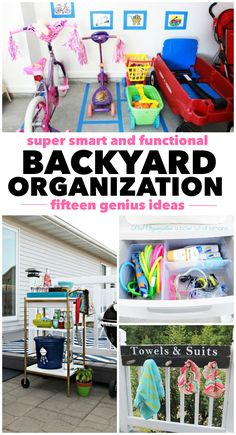 15 Backyard Organization Ideas - great ideas to implement this Spring! Crafts For Teens To Make, Crafts To Sell, Easy Crafts, Diy And Crafts, Backyard For Kids, Backyard Ideas, Outdoor Toys, Outdoor Play, Toy Organization
