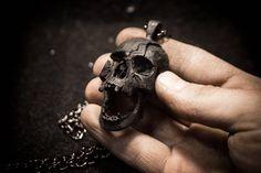 Totenkopf Anhänger Halskette Silber Bronze Messing nickel Herren Schädel  Biker Freimaurer Rock n Roll gotischen Heavy fa70731e72