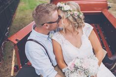 Kissing in the back of an old ford pickup truck