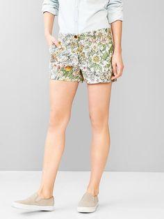 Floral summer khaki shorts