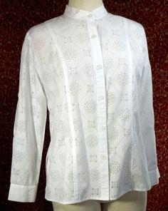 ALFRED DUNNER PETITES white cotton blend long sleeve blouse 6P (T25-01C7G) #AlfredDunner #Blouse #Career