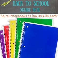 Walmart 1-Subject Spiral Notebooks only $.34, 3 Subject $1.44, 5 Subject $1.47!! Back To School Deals, Ruled Paper, School Notebooks, Sustainable Practices, School Essentials, White Pages, Spiral Notebooks, Journal Entries, Online Deals