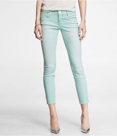 Express Womens Stella Faded Color Ankle Jean Legging Mint Mint, 2