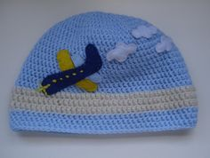 Crochet boy hat with felt airplane by MyLittlePeachCrochet on Etsy, $16.00